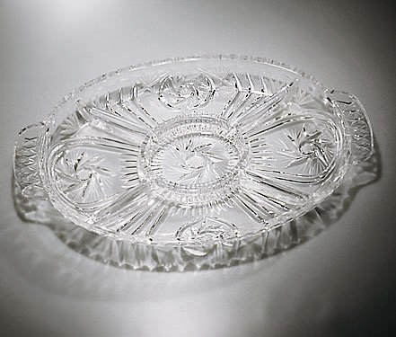 Handcut Crystal Oval Relish/Appetizing Dish -