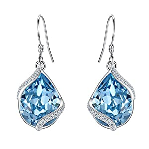 EVER FAITH 925 Sterling Silver CZ Twist Teardrop Hook Dangle Earrings Adorned with Swarovski crystals
