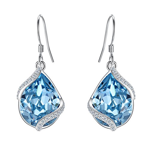 EVER FAITH 925 Sterling Silver CZ Twist Teardrop Earrings Light Blue Adorned with Swarovski (Swarovski Pierced Earrings)