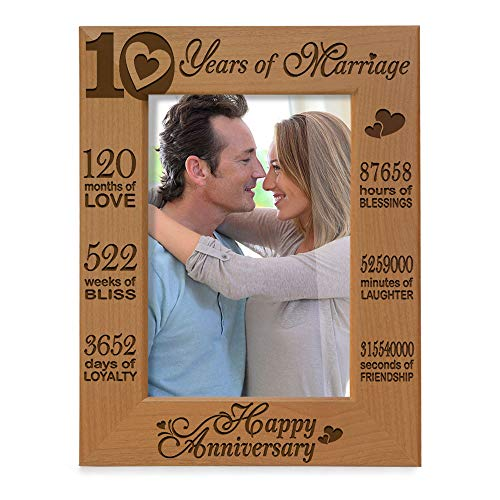 KATE POSH - Our 10th Wedding Anniversary Picture Frame, 10th, 10 Years Anniversary, 10 Years of Marriage, 120 Months of Love - Engraved Natural Wood Picture Frame (4x6-Vertical) (10 Wedding Gift Anniversary Year)