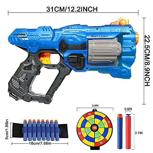 Kids Toy Gun for Nerf Guns Bullet, Foam Blaster with 8-Dart Rotating Magazine+60 Foam Refill Dart Gun, Indoor Outdoor Shooting Game Toys, Birthday/Xmas Gift for for 6-12 Year Old Boys Girls