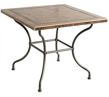 Amazon De Dinning Tisch Antibes Gartentisch Eckig Stahlgestell