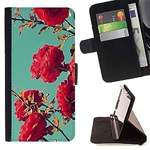 Bush Rosa Rojo trullo Cielo Naturaleza Azul- Modelo colorido cuero de la carpeta del tirón del caso cubierta piel Holster Funda protecció Para Apple iPhone 5C