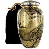 Desert Sands Beautiful Adult Cremation Urn for Human Ashes - with a Lovely Gold and Black Finish That Will Bring You Comfort and Peace - w Velvet Bag