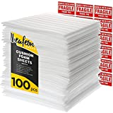 """12"""" x 12"""" Foam Wrap Sheets for Packing Shipping Moving Supplies, Dishes - Cushion Foam Wraps are a Good Alternative to Bubble Packing Envelopes & Moving Paper - Great Wrap for Moving boxes - 100 Pack"""