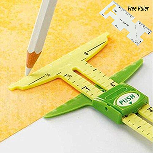 HONEYSEW 5-in-1 Sliding Gauge Measuring Sewing Tool with Free Seam Gauge Ruler