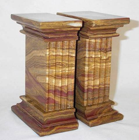 Khan Imports Large Stone Bookends, Decorative Brown Bookends - Heavy