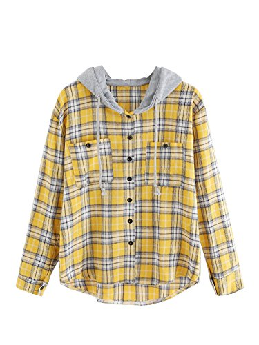 SweatyRocks Women's Casual Plaid Hoodie Shirt Long Sleeve Button-up Blouse Tops (Medium, Yellow) (Plaid Flannel Yellow)