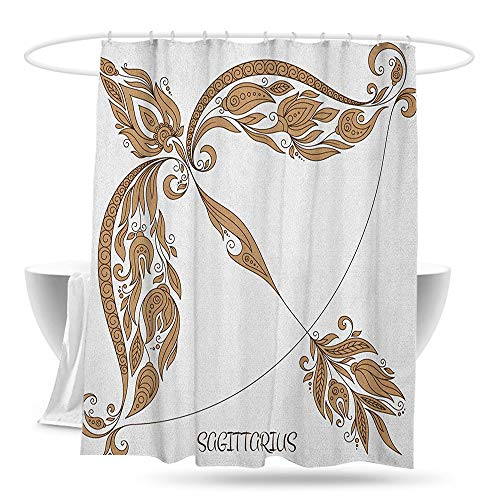 (Polyester Shower Curtain Zodiac Sagittarius Bow and Arrow Pattern with Hand Drawn Flowers Vintage Design Bathroom Decoration W59×L70 Caramel and Black)