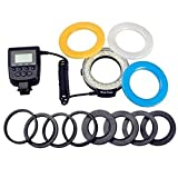 INSEESI LED Macro Ring Flash Light With 8 Adapter Rings and 3 Ring Flash Diffuser for Nikon Pentax Canon 6d 60d 1200d 550d 650d 60d 1100d 5d 600d 7d Camera