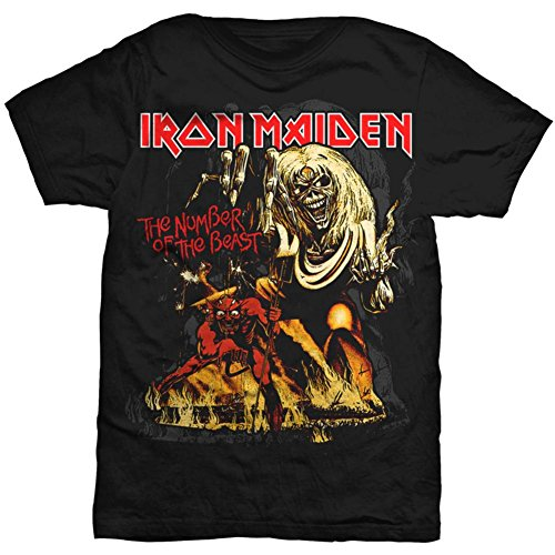 Global Iron Maiden - Number of the Beast T-Shirt,Black,Large