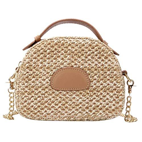 Puedo Exquisite Handmade Straw Bag Women Rattan Woven Shoulder Handbag Summer Beach Crossbody Bag ()