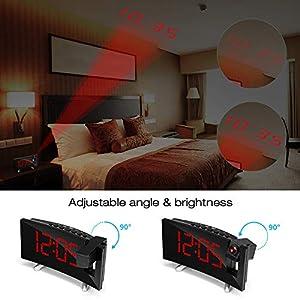 SKM Reloj Despertador de Proyección Digital Radio FM Reloj de Viaje Reloj de Cabecera Proyector Giratorio Alarma Doble Función de Despertador (Rojo) 4