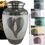 Loving Angel - White/Silver Cremation Urns for Human Ashes Adult for Funeral, Burial, Columbarium or Home, Cremation Urns for Human Ashes Adult 200 Cubic inches, Urns for Ashes (Large/Adult)