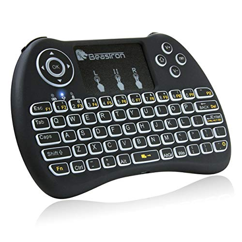 (Upgraded) Beastron 2.4G Mini Wireless Keyboard with Touchpad Mouse?QWERTY Keyboard, Backlit Portable Keyboard Wireless with Remote Control for Laptop,PC,Google Android TV,Xbox,PS3/4 .Black