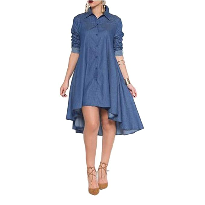 ef5d09c4a Image Unavailable. Image not available for. Color  iShine Women s Casual  Denim Shirt Dress Long Sleeve ...