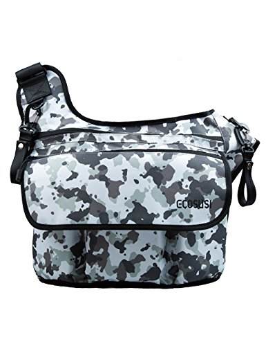 Ecosusi Men's Baby Nappy Diaper Changing Cloth Bags Shoulder Messengers for Dads Gris
