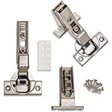 ProCabinetBumpers INSET Blum CLIP Top BLUMOTION Soft Close Inset Hinges 71B3650 (Screw-on, 110 degree, Face Frame) With Mounting Plates, and Screws (2)
