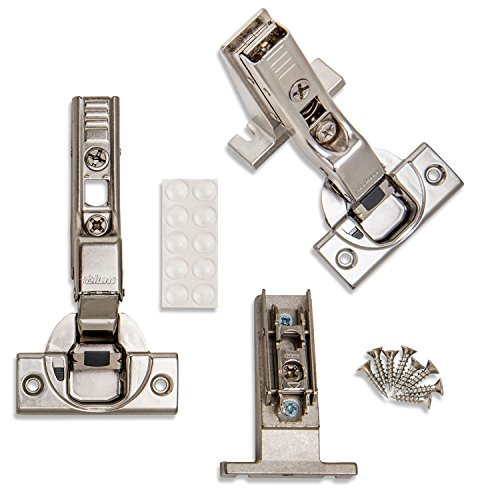 ProCabinetBumpers INSET Blum CLIP Top BLUMOTION Soft Close Inset Hinges 71B3650 (Screw-on, 110 degree, Face Frame) With Mounting Plates, and Screws (8)