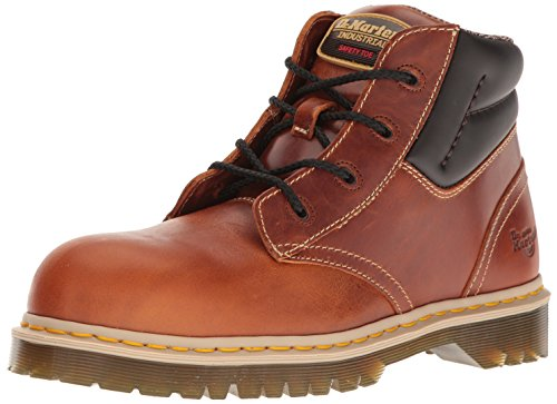 Martens Unisex Safety Boots - Dr. Martens Unisex Icon 7B09 Steel Toe 4 Eye Boots, Brown Leather, 7 M UK, M8/W9 M US