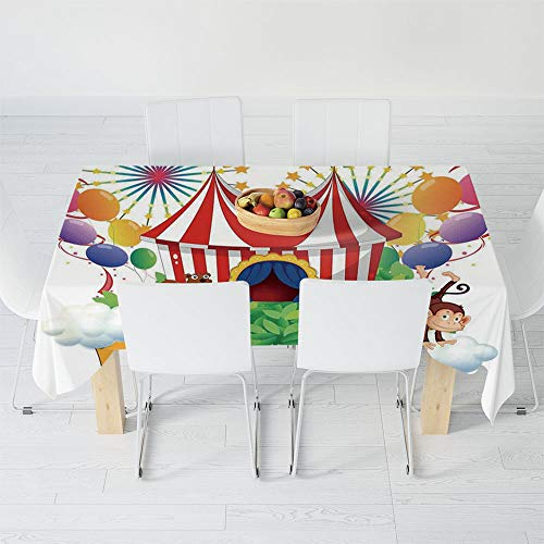 Custom Tablecloth,Circus Decor,for Home & Office & Restaurant Table Tea Table,70.1 X 52 Inch,Carnival with a Circus Signboard Cirque Leaves
