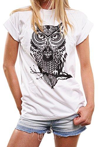 ddc8ed243a92 MAKAYA Lustige und Coole Eulen Shirts in großen Größen Oversize Shirt mit  Aufdruck  Amazon.de  Bekleidung