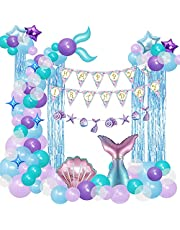 80 PCS Mermaid Party Decorations, Mermaid Birthday Party Supplies Included Happy Birthday Banner, Mermaid Foil Balloons, Blue Fringe Curtain, Mermaid Tail Balloon Garland Arch Kit for Girls