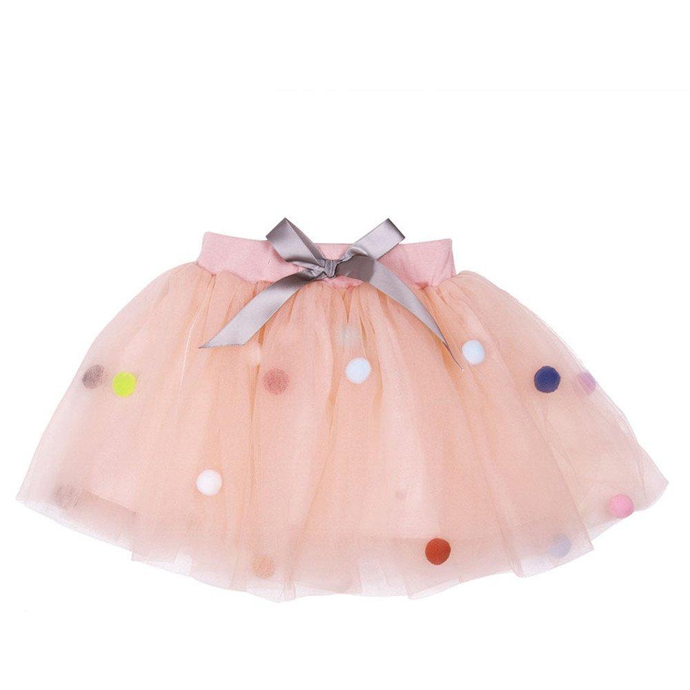 TRADERPLUS Baby Girls Pom Pom Puff Balls Tutu Skirt Toddlers Tulle Princess Dress (Large / 4-6 Years, Pink)