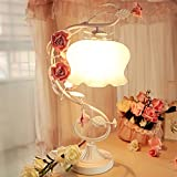 table lamp Iron table lamp warm romantic roses pastoral wind princess bedroom bedside lamp wedding get married A+