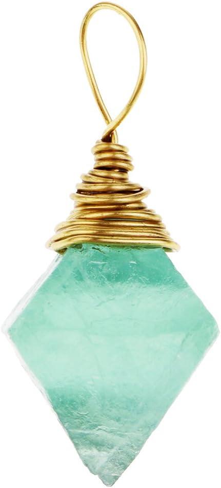 IPOTCH 1 Pieza Colgante Dije de Piedra Fluorita Color Verde para Hacer Collar Bisutería - # 2