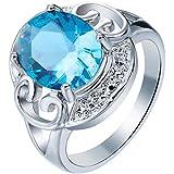 Man Women Fashion Jewelry 925 Silver Aquamarine Women Wedding Ring Size 6-10#by pimchanok shop (10, Aquamarine)