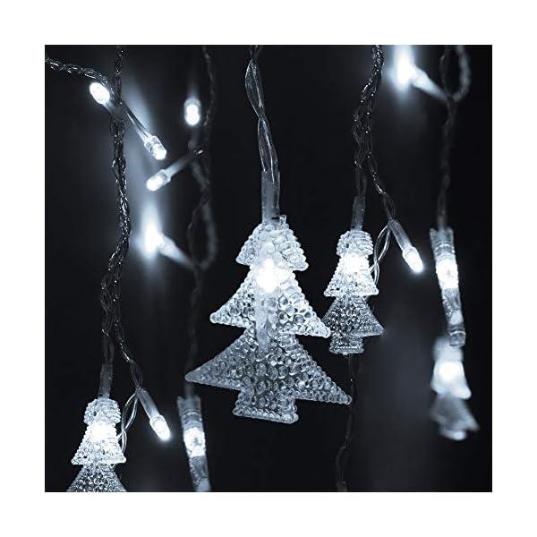 Klighten Catena Luminosa, Strisce LED, 96er Led Luci 3.5 * 0.65m Luci Stringa Bianco Freddo 8 Modalità Impermeabili IP44, per finestra, porta, giardino, feste, Natale 3 spesavip