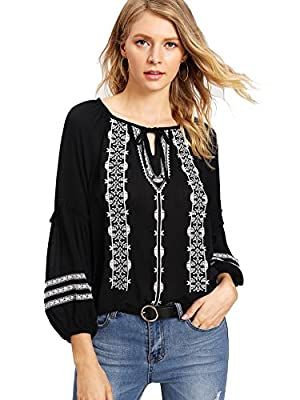 Women's Loose Geo Embroidered Frill Trim Casual Blouse T-Shirt Tops