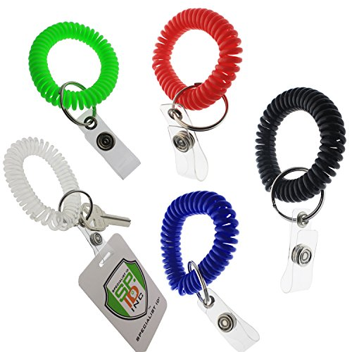 Strap Key Ring - 5 Pack - Ultimate Wrist Coil Camper Keychains for Work and Play - Premium Elastic Bungee Badge Holder & Key Chain Ring (One Size Fits All) by Specialist ID (Assorted Colors)