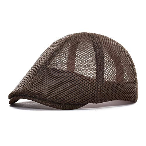 - VOBOOM Men Breathable mesh Summer hat Newsboy Beret Ivy Cap Cabbie Flat Cap (Style2- Coffee)