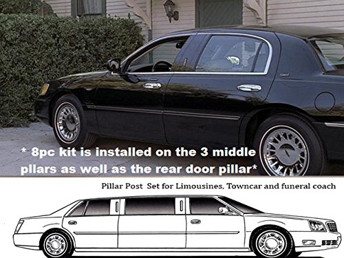 Fits 2000-2002 LINCOLN TOWN CAR 4-door, L-STRETCH -Stainless Steel Pillars ()