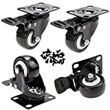 GAGEC 2'' Swivel Caster Wheels Rubber Base with Brake & 20 Screws Bearing Heavy Duty Pack of 4
