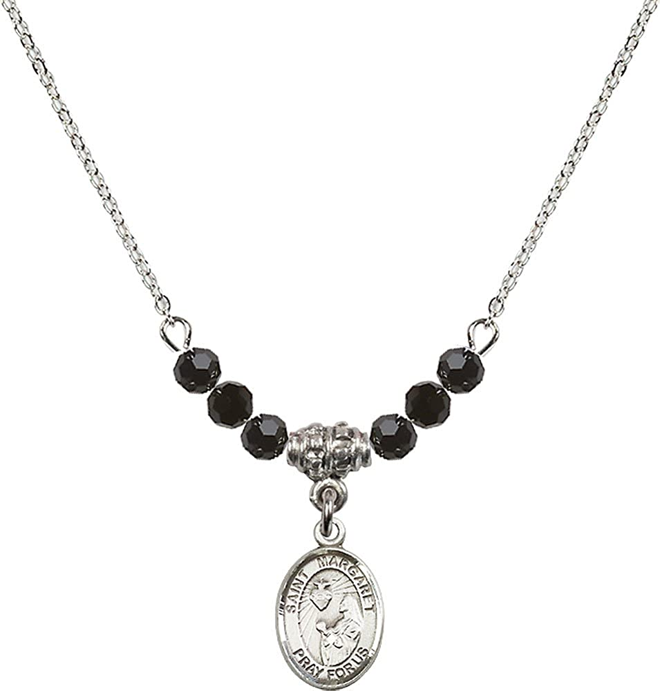 18-Inch Rhodium Plated Necklace with 4mm Jet Birthstone Beads and Sterling Silver Saint Margaret Mary Alacoque Charm.