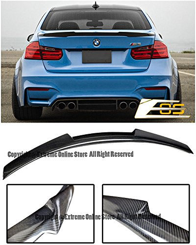 Replacement For 2012-2018 BMW F30 3-Series 4Dr Sedan / 2015-2018 BMW F80 M3 | EOS M4 Performance Style CARBON FIBER Rear Trunk Lid Spoiler ()