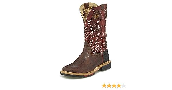 Justin Mens Derrickman Croc Print Western Work Boot Composite Toe Camel 9 D