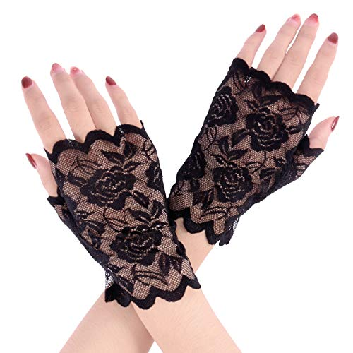LUOEM Women Lace Fingerless Gloves Half Finger Bridal Gloves UV Protection Fingerless Gloves Sunproof Gloves (Black) -