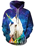 TUONROAD 3D Horse Graphic Printed Sweaters Hot Pattern Unicorn Blue Purple Universe Starry Galaxy Colorful Drawstring Sweatshirts Harajuku Long Sleeve Cool Casual Sweatshirt Hooded