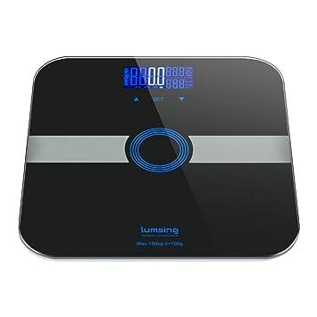 LUMSING Báscula Digital Inteligente de alta precisión. Monitoriza peso corporal, grasa corporal, índice