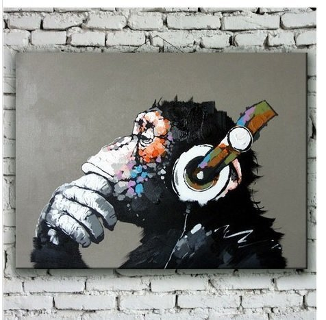 QICAI Modern Gorilla Monkey Music Oil Painting Wall Painting Canvas Painting Home Decor Oil on Canvas