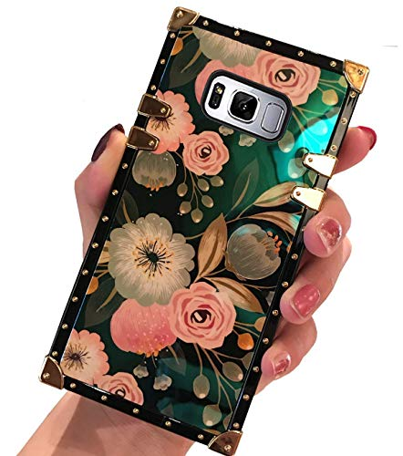 BABEMALL Galaxy Note 8 Case, Luxury Retro Blu - Ray Phone Square Protective Metal Decoration Corner Scratch Proof Back Cover Case for Samsung Galaxy Note 8 -Flower 1