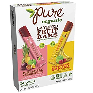 Pure Organic Layered Fruit bar Variety Package, 12 - Pineapple Passionfruit & 12 - Strawberry Banana 0.63 oz (Pack of 24)