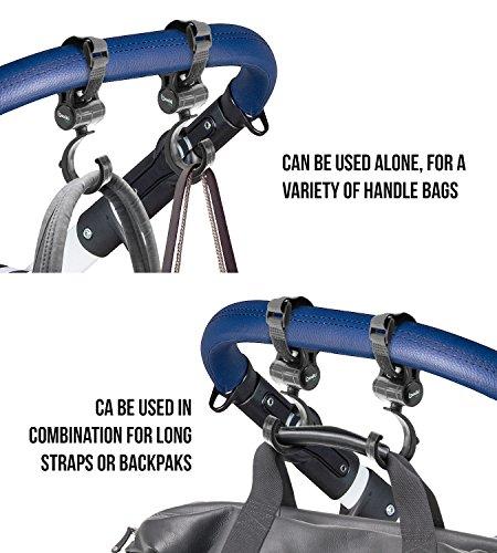 Set of 2 Stroller Hooks for Bags, Purses, Water Bottles & More | Mommy Hook Stroller Bag Hanger Clips | 360 Degree Swivel Stroller Carabiner Hooks | Stroller Hook Set for Mommy by Boxiki Kids by Boxiki Kids (Image #5)