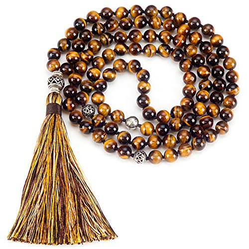 (Cherry Tree Collection Mala Necklace | 108 Hand-Knotted 8mm Gemstone Round Beads, Antiqued Guru and Counter Beads, and Tassel | Meditation, Buddhist Prayer, Healing (Tiger's Eye AA))