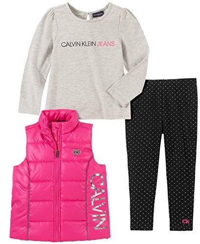 Calvin Klein Baby Girls 3 Pieces Puffy Vest Set, Pink/Gray, 18M