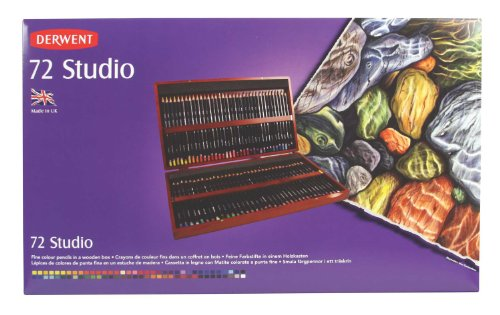Derwent Colored Pencils, 72 Studio, 3.4mm Core, Wooden Box, 72 Count (32199)